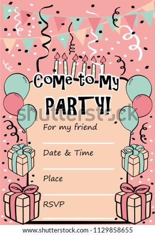 Kids birthday party invitation card sentence stock vector 1129858655 kids birthday party invitation card with sentence come to my party and template for stopboris Image collections
