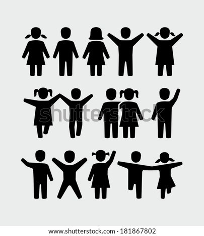 Kids, boy and girl icon.  - stock vector