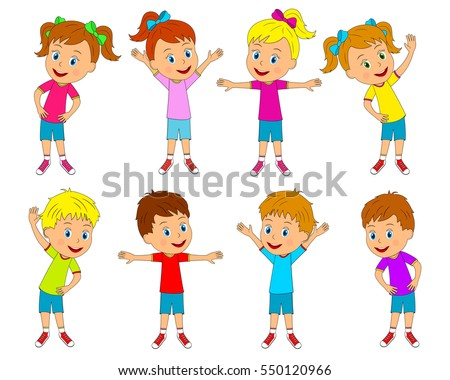 set cartoon characters happy girls boys stock vector