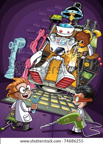 Kids building a Robot in a Laboratory - stock vector