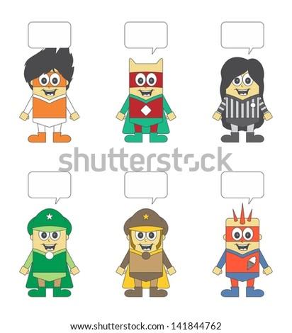 kids cartoon super hero set bubble one - stock vector