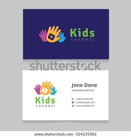 Kids Channel Logo,Kids logo,Kids play logo,Business card template,Vector Logo template - stock vector