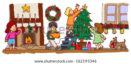 Kids children with friends are decorating the room with christmas tree and ornament to celebrate Christmas party in the room, create by cartoon vector - stock vector