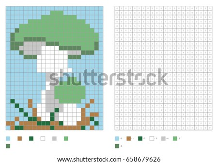 kids coloring page pixel coloring with poisonous mushroom vector illustration