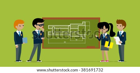 Kids construct project on board. Kid construction, child constuction, board architecture, education kids structure, school builder, architect and building kid, plan construction illustration - stock vector