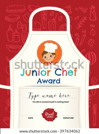 Kids cooking class certificate design template stock vector kids cooking class certificate design template with junior chef cartoon illustration on kitchen apron background yadclub Gallery