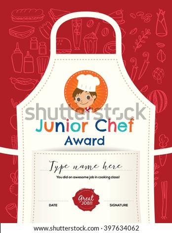 Kids Cooking Class Certificate Design Template Stock Vector ...