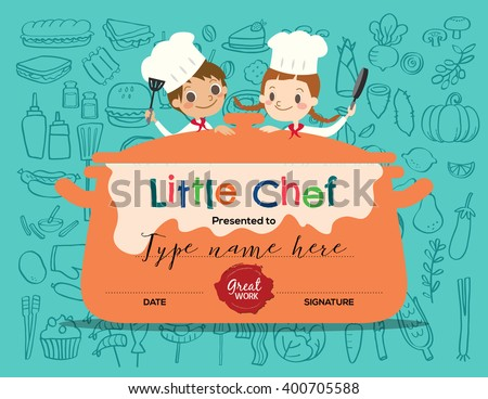 Kids cooking class certificate design template kids cooking class certificate design template with little chef cartoon illustration yelopaper Image collections