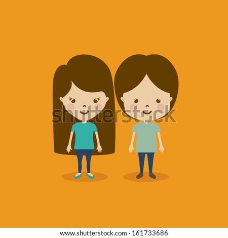kids design over orange background vector illustration - stock vector