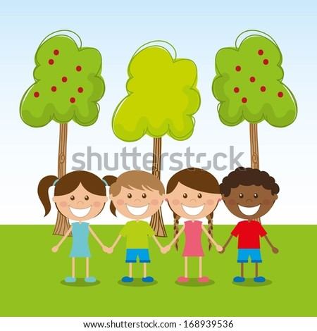 kids design over sky background vector illustration - stock vector