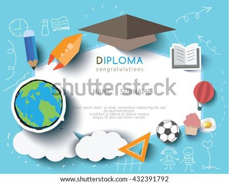Kids diploma preschool certificate elementary school stock vector hd kids diploma preschool certificate elementary school design template background vector illustration yadclub Image collections