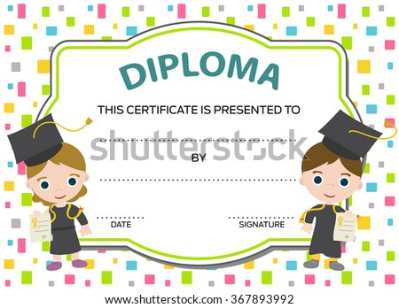 kids diploma with two graduates - stock vector