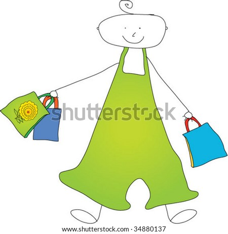Kids drawing about shopping - stock vector