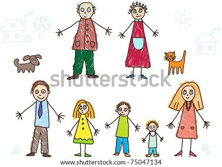 Kids Drawing. Family - stock vector