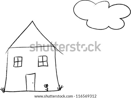 Kids drawing for a house with a cloud - vector - stock vector