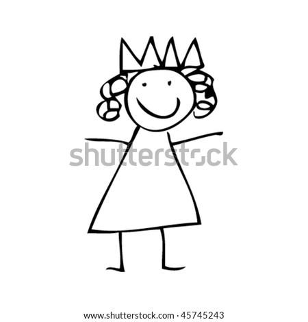 Kids Drawing Princess Stock Vector ()   Shutterstock