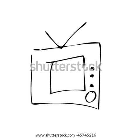 kids drawing of tv - stock vector