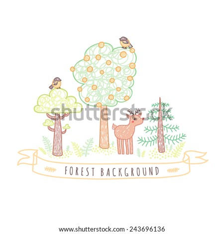 Kids drawings doodle style forest background with trees, birds, ribbon and deer
