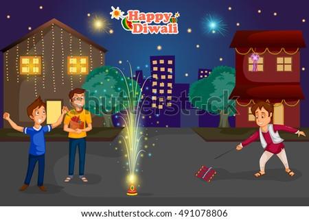 kids enjoying firecracker celebrating Diwali festival of India in vector