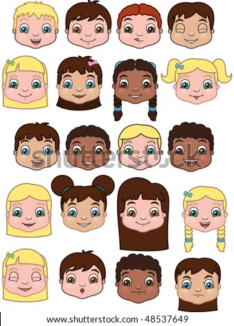 Kids Expression Set - vector illustrations - stock vector
