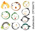 kids faces - stock vector