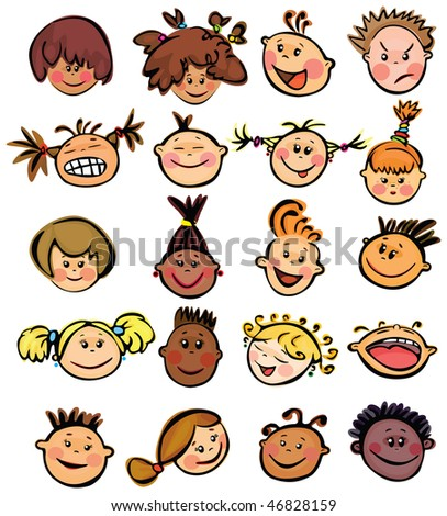 Kids faces. - stock vector