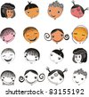 Kids faces set isolated on White background. Face icon, happy people cartoon sketch. Vector illustration - stock photo