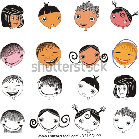 Kids faces set isolated on White background. Face icon, happy people cartoon sketch. Vector illustration - stock vector