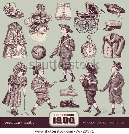 Kids' Fashion and Accessories (1900) - stock vector