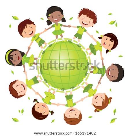 Kids for greener world. Globe kids. Vector illustration of diverse Children Holding Hands.