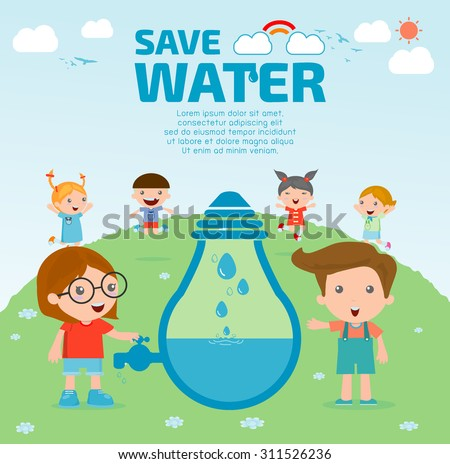 Kids for save water concept, Ecology Save The Water, Water conservation concept. Vector illustration - stock vector