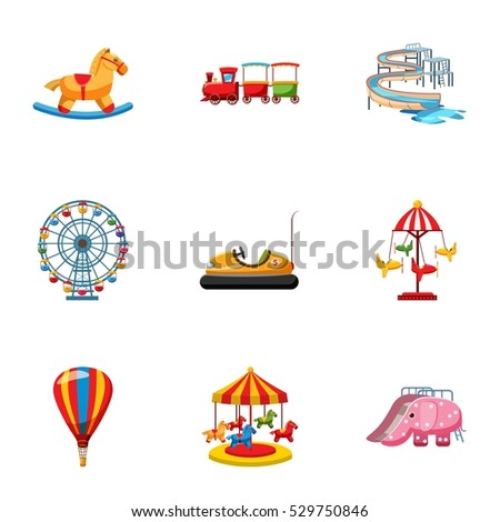 Kids games icons set. Cartoon illustration of 9 kids games vector icons for web