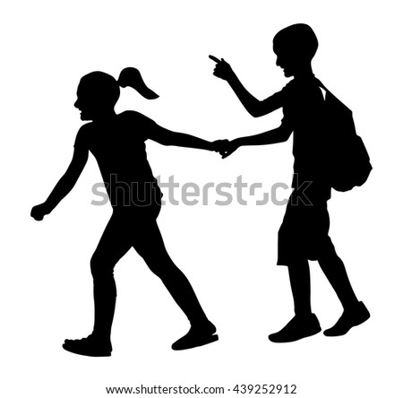 Kids going to school together, vector silhouette illustration. Back to School. Boy with Backpack. First love. Happy Kids. Education, boy with Books. Happy Schoolkids. Vector illustration. - stock vector