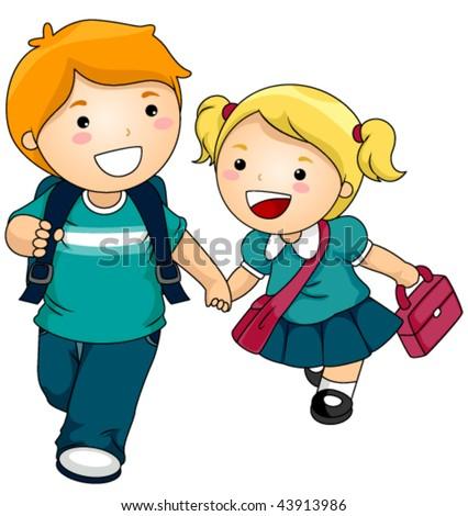 Kids going to School - Vector - stock vector