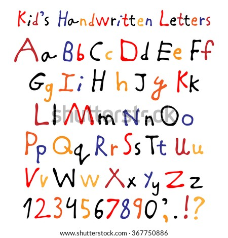 Kids handwritten letters. Full alphabet and numbers. Childrens script font. - stock vector