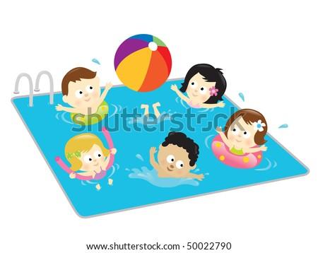 Kids having fun in the pool - stock vector