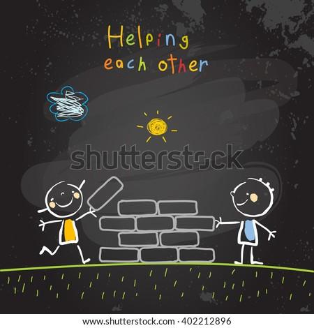 Kids helping each other, friendship concept vector illustration. Children building together, teamwork. Chalk on blackboard sketch, hand drawn doodle. - stock vector