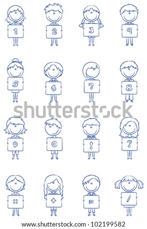 Kids Hold Numbers Symbols Education Stock Vector Hd Royalty Free
