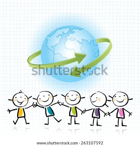 kids holding hands, peace on earth, ecology concept, wellness. Happy kids, blue planet.  - stock vector