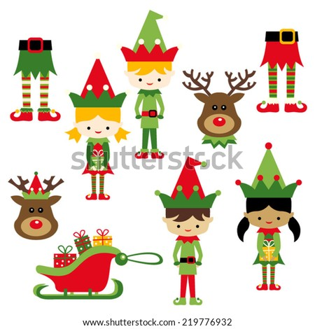 Kids in elf costumes. Cute vector clip art illustration for christmas. - stock vector