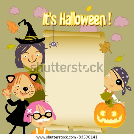 Kids in Halloween costumes with paper scroll banner - stock vector