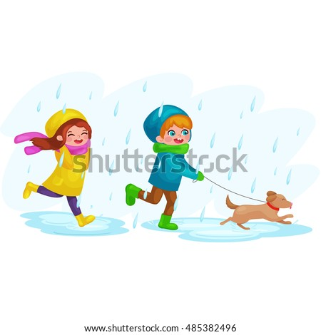 Kids in raincoats and rubber boots playing in the rain. Children jumping and splashing through the puddles. vector cartoon illustration isolated on white background.