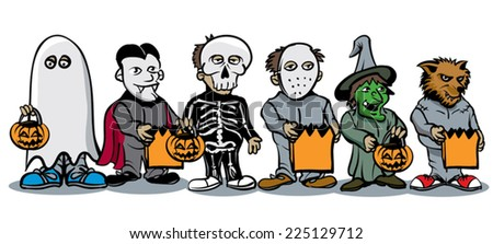 kids in various costumes with bags of candy - stock vector