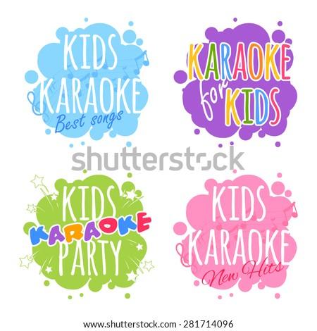 Kids karaoke logo. Vector clip art illustration on a white background. - stock vector