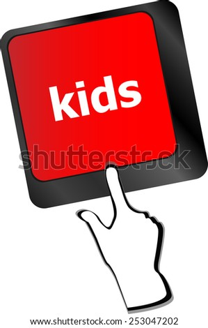 kids key button in a computer keyboard - stock vector