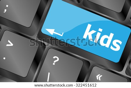 kids key button in a computer keyboard, vector illustration - stock vector