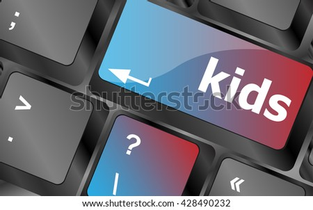 kids key button in a computer keyboard vector, keyboard key, keyboard button, vector keyboard - stock vector