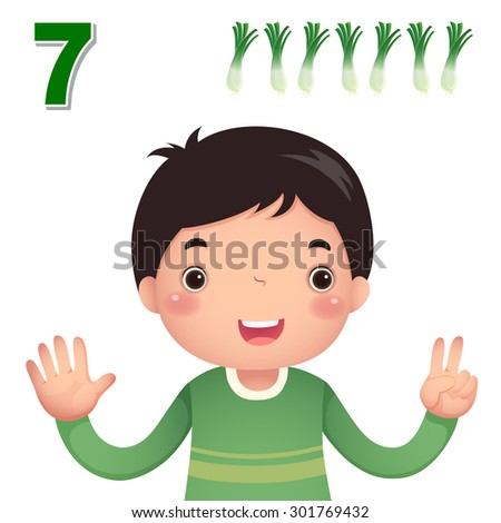 Kids learning material. Learn number and counting with kids hand showing the number seven - stock vector