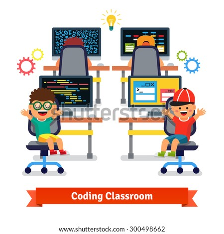 Kids learning to code and program in software engineering science class. Flat style vector illustration isolated on white background. - stock vector