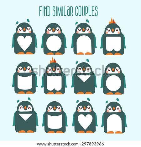 Kids match-up cute play. Find six pair of similar characters. Game with funny cartoon penguins for your design. Visual puzzle to match - stock vector